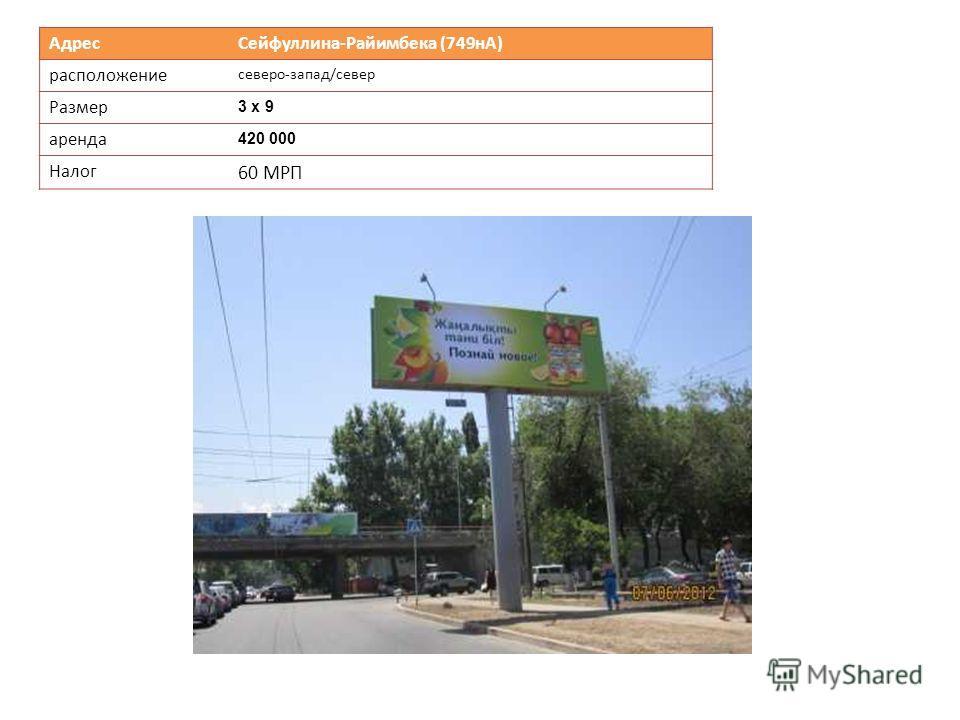 Адрес Сейфуллина-Райимбека (749нА) расположение северо-запад/север Размер 3 х 9 аренда 420 000 Налог 60 МРП
