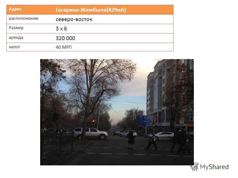 Адрес Гагарина-Жамбыла(829нА) расположение северо-восток Размер 3 х 6 аренда 320 000 налог 40 МРП