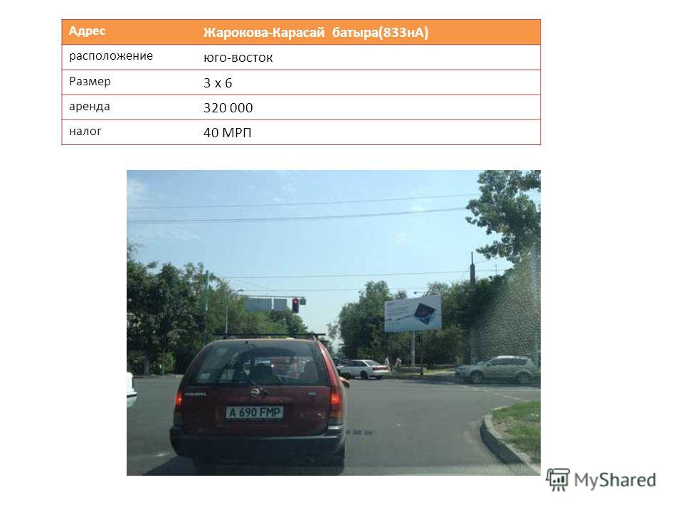 Адрес Жарокова-Карасай батыра(833нА) расположение юго-восток Размер 3 х 6 аренда 320 000 налог 40 МРП
