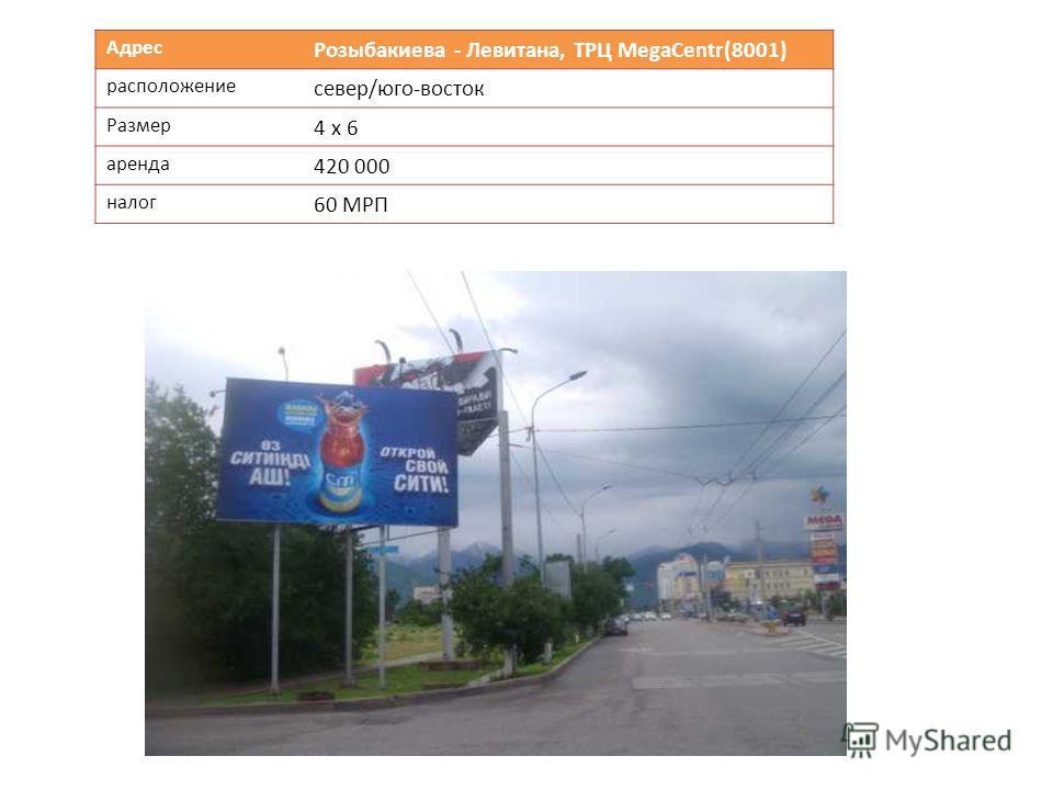 Адрес Розыбакиева - Левитана, ТРЦ МеgaCentr(8001) расположение север/юго-восток Размер 4 х 6 аренда 420 000 налог 60 МРП