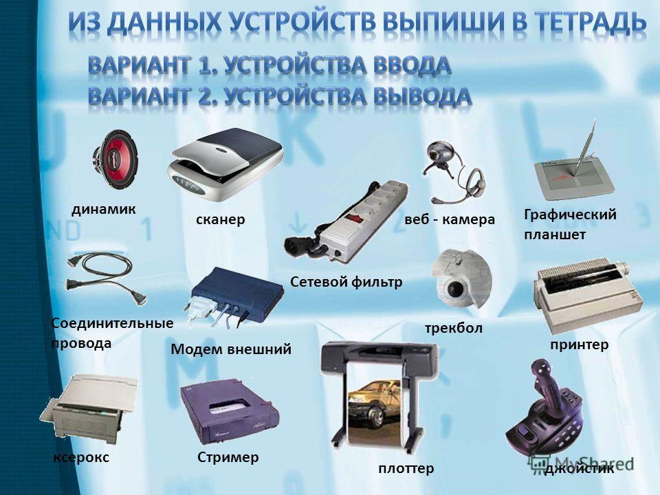 джойстик принтер Графический планшет динамик Соединительные провода ксерокс сканер Модем внешний Сетевой фильтр плоттер Стример веб - камера трекбол