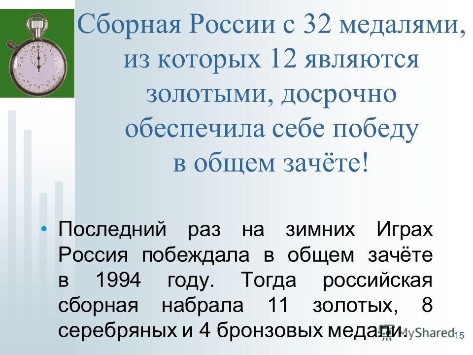 Сборная России с 32 медалями, из которых 12 являются золотыми, досрочно обеспечила себе победу в общем зачёте! Последний раз на зимних Играх Россия побеждала в общем зачёте в 1994 году. Тогда российская сборная набрала 11 золотых, 8 серебряных и 4 бр