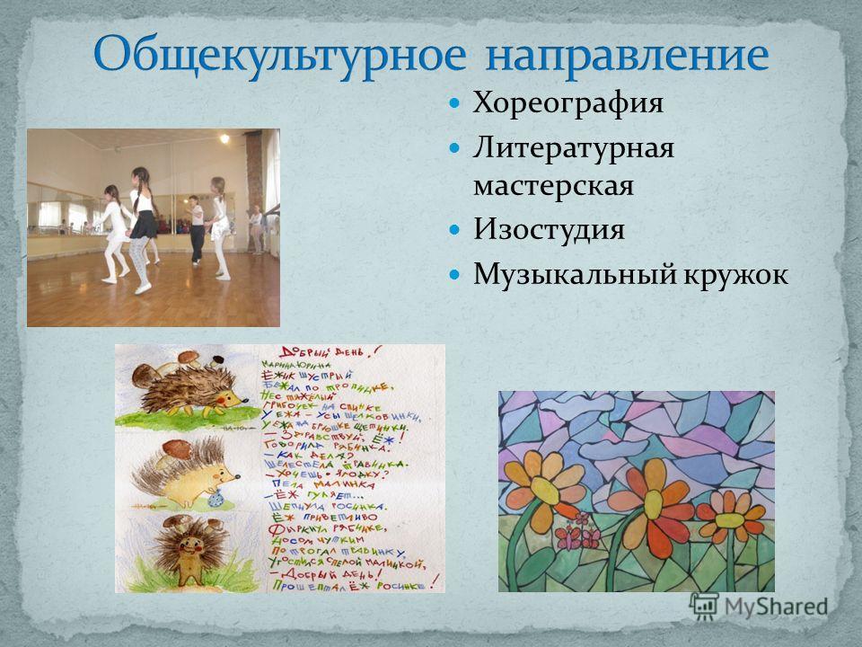 Хореография Литературная мастерская Изостудия Музыкальный кружок