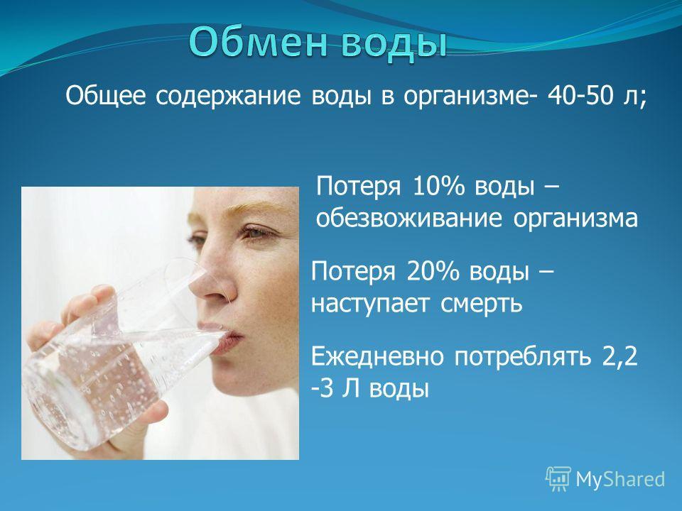 Общее содержание воды в организме- 40-50 л; Потеря 10% воды – обезвоживание организма Потеря 20% воды – наступает смерть Ежедневно потреблять 2,2 -3 Л воды