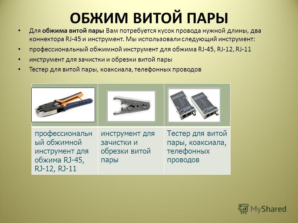 ОБЖИМ ВИТОЙ ПАРЫ Для обжима витой пары Вам потребуется кусок провода нужной длины, два коннектора RJ-45 и инструмент. Мы использовали следующий инструмент: профессиональный обжимной инструмент для обжима RJ-45, RJ-12, RJ-11 инструмент для зачистки и