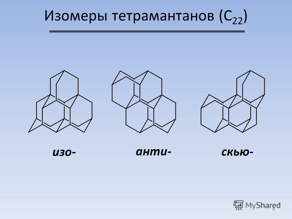 Изомеры тетрамантанов (C 22 ) 8 скью- анти- изо-