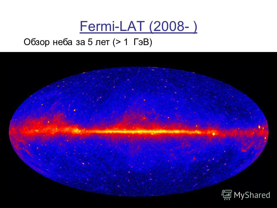 Fermi-LAT (2008- ) Обзор неба за 5 лет (> 1 ГэВ)