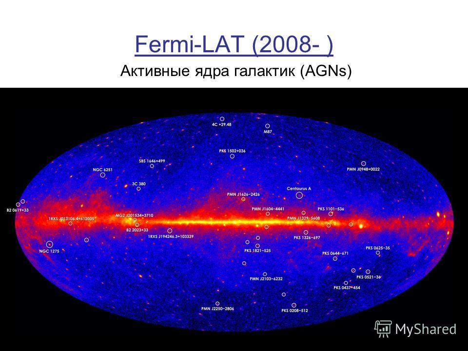 Fermi-LAT (2008- ) Активные ядра галактик (AGNs)