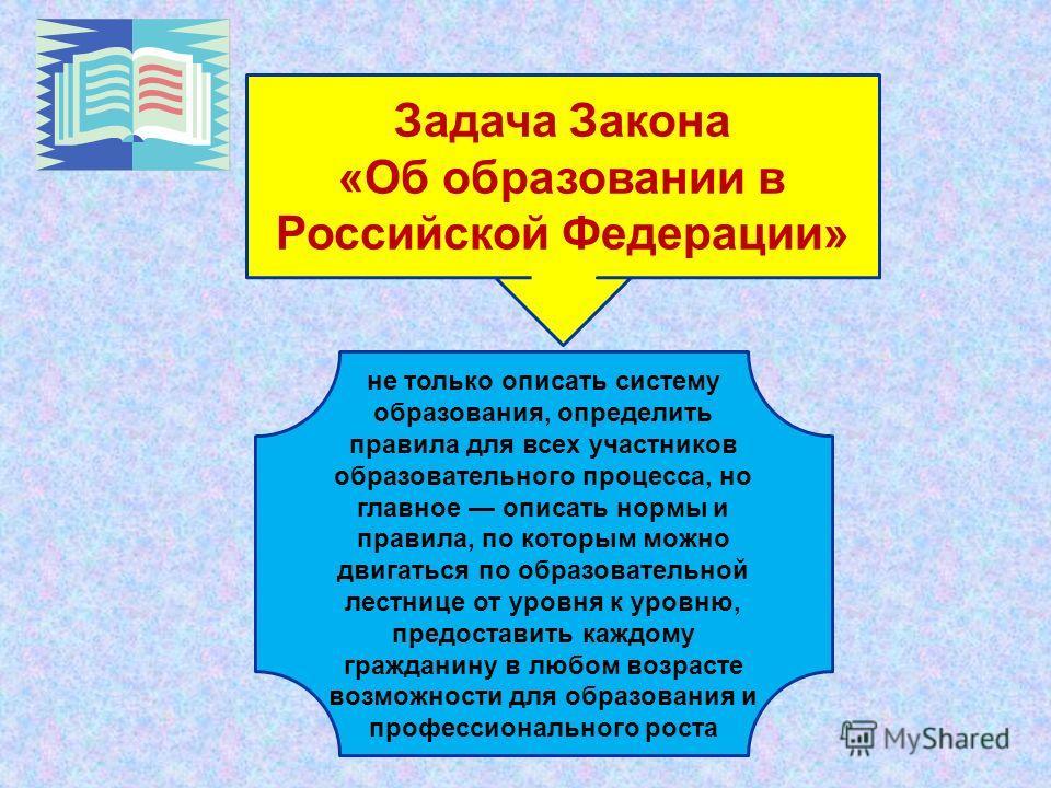 Задача Закона «Об образовании в Российской Федерации» не только описать систему образования, определить правила для всех участников образовательного процесса, но главное описать нормы и правила, по которым можно двигаться по образовательной лестнице