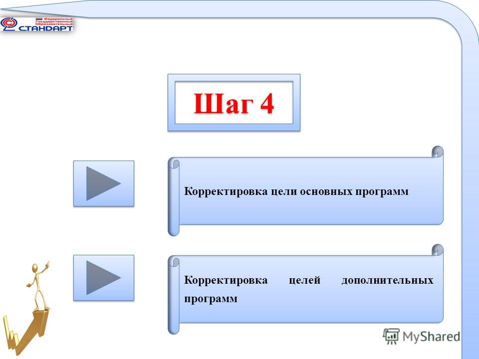 Шаг 4 Корректировка цели основных программ Корректировка целей дополнительных программ