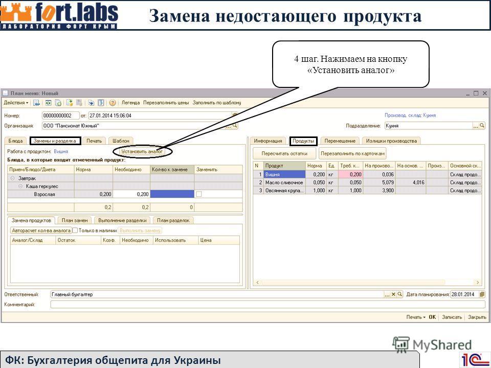 ФК: Бухгалтерия общепита для Украины 4 шаг. Нажимаем на кнопку «Установить аналог» Замена недостающего продукта