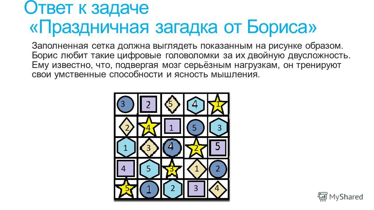 Ответ к задаче «Праздничная загадка от Бориса» Заполненная сетка должна выглядеть показанным на рисунке образом. Борис любит такие цифровые головоломки за их двойную двусложность. Ему известно, что, подвергая мозг серьёзным нагрузкам, он тренируют св