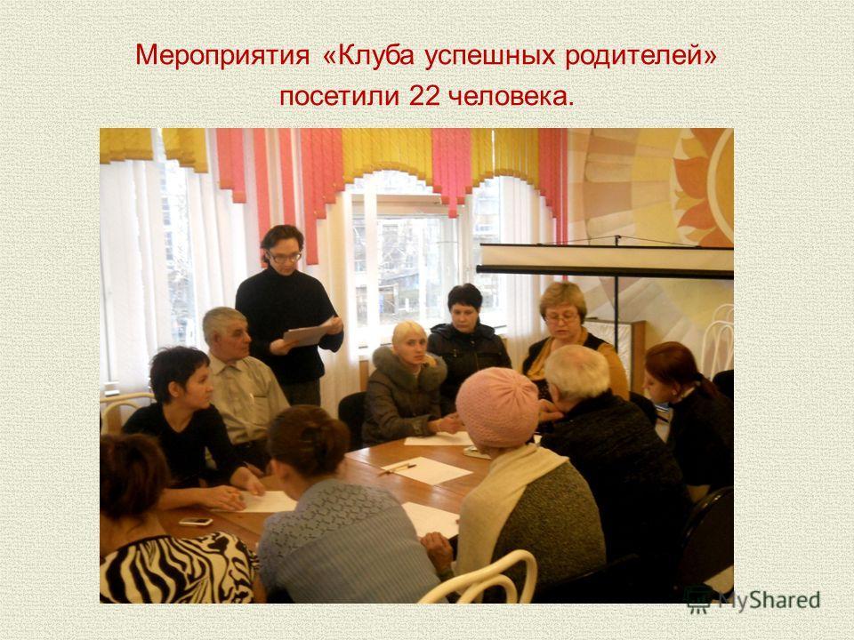 Мероприятия «Клуба успешных родителей» посетили 22 человека.