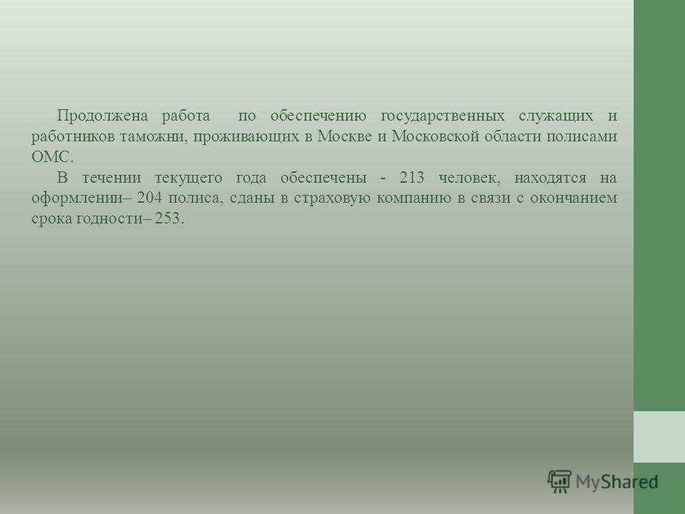 Продолжена работа по обеспечению государственных служащих и работников таможни, проживающих в Москве и Московской области полисами ОМС. В течении текущего года обеспечены - 213 человек, находятся на оформлении– 204 полиса, сданы в страховую компанию