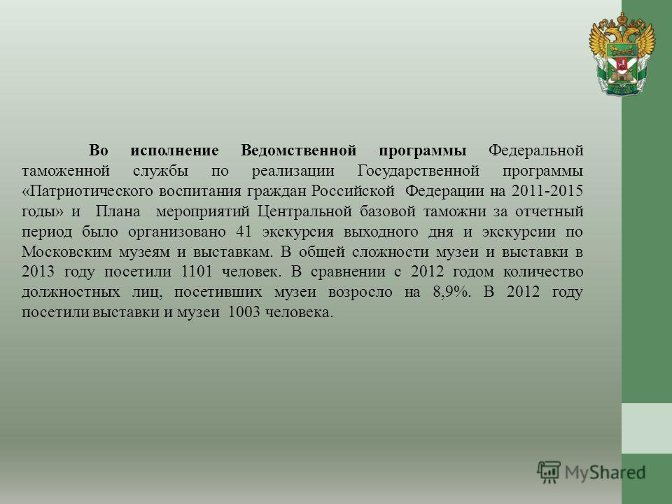 Во исполнение Ведомственной программы Федеральной таможенной службы по реализации Государственной программы «Патриотического воспитания граждан Российской Федерации на 2011-2015 годы» и Плана мероприятий Центральной базовой таможни за отчетный период