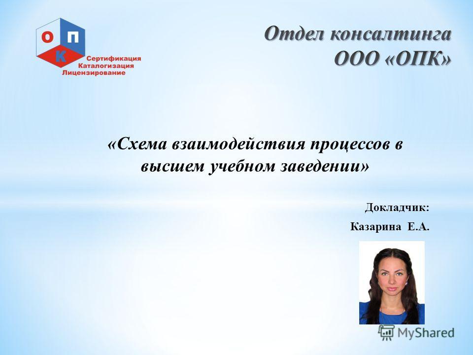 «Схема взаимодействия процессов в высшем учебном заведении» Докладчик: Казарина Е.А.