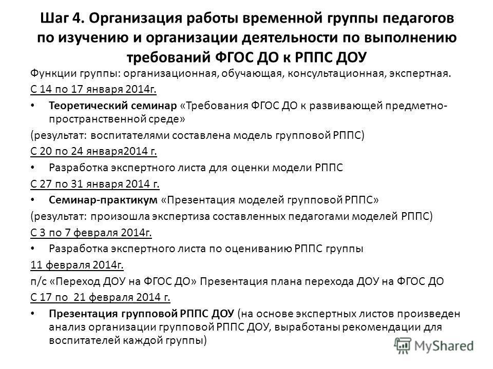 Функции группы: организационная, обучающая, консультационная, экспертная. С 14 по 17 января 2014г. Теоретический семинар «Требования ФГОС ДО к развивающей предметно- пространственной среде» (результат: воспитателями составлена модель групповой РППС)