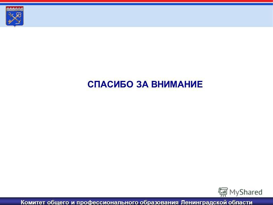 Комитет общего и профессионального образования Ленинградской области СПАСИБО ЗА ВНИМАНИЕ
