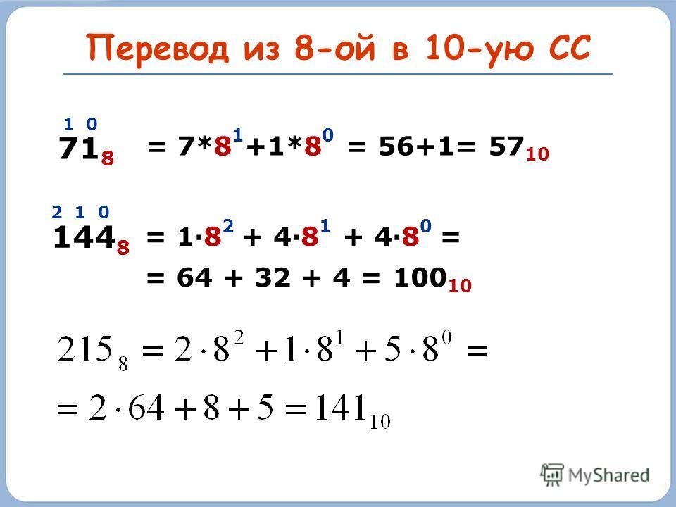 Перевод из 8-ой в 10-ую СС 71 8 1 0 = 7*8 1 +1*8 0 = 56+1= 57 10 144 8 2 1 0 = 1·8 2 + 4·8 1 + 4·8 0 = = 64 + 32 + 4 = 100 10