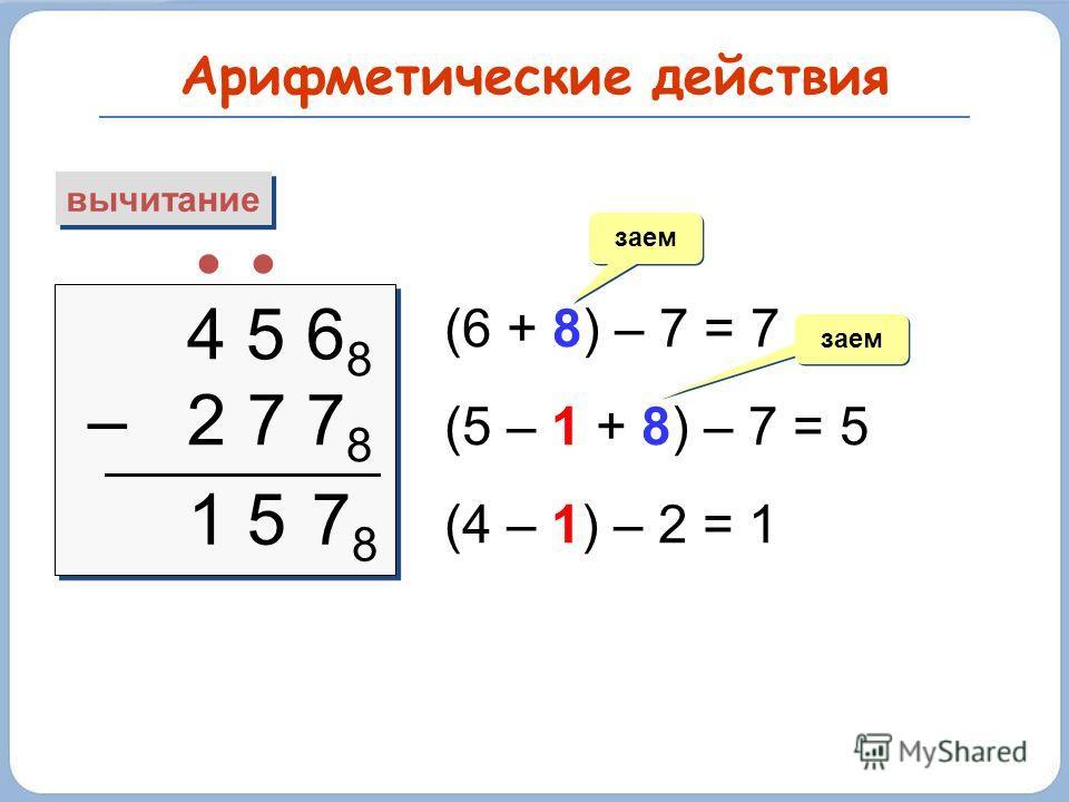 Арифметические действия вычитание 4 5 6 8 – 2 7 7 8 4 5 6 8 – 2 7 7 8 (6 + 8) – 7 = 7 (5 – 1 + 8) – 7 = 5 (4 – 1) – 2 = 1 заем 7878 15