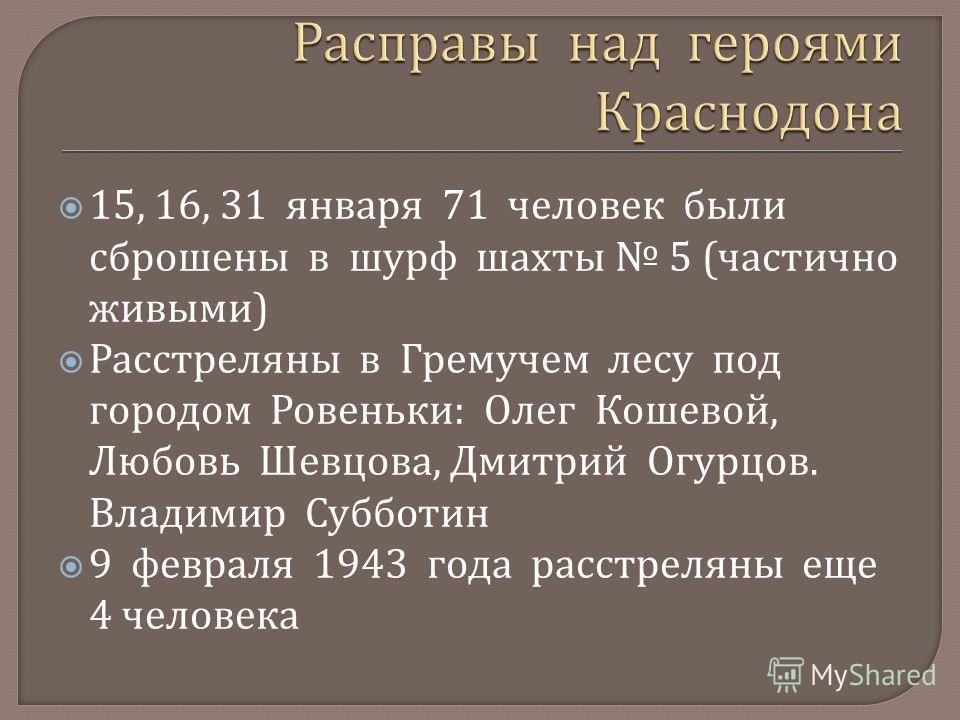 15, 16, 31 января 71 человек были сброшены в шурф шахты 5 ( частично живыми ) Расстреляны в Гремучем лесу под городом Ровеньки : Олег Кошевой, Любовь Шевцова, Дмитрий Огурцов. Владимир Субботин 9 февраля 1943 года расстреляны еще 4 человека