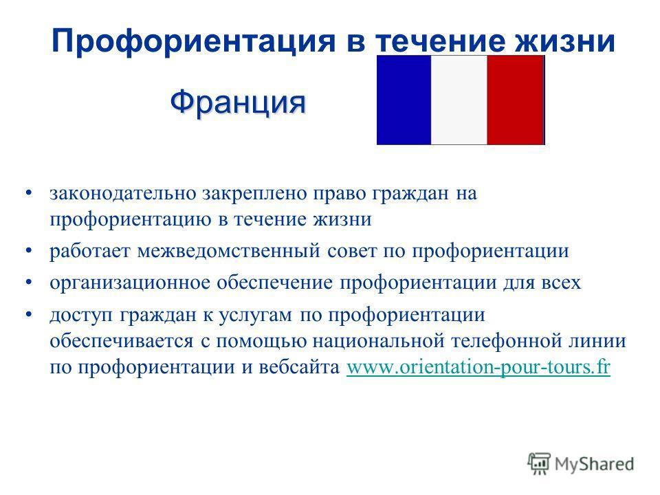 Франция Профориентация в течение жизни Франция законодательно закреплено право граждан на профориентацию в течение жизни работает межведомственный совет по профориентации организационное обеспечение профориентации для всех доступ граждан к услугам по