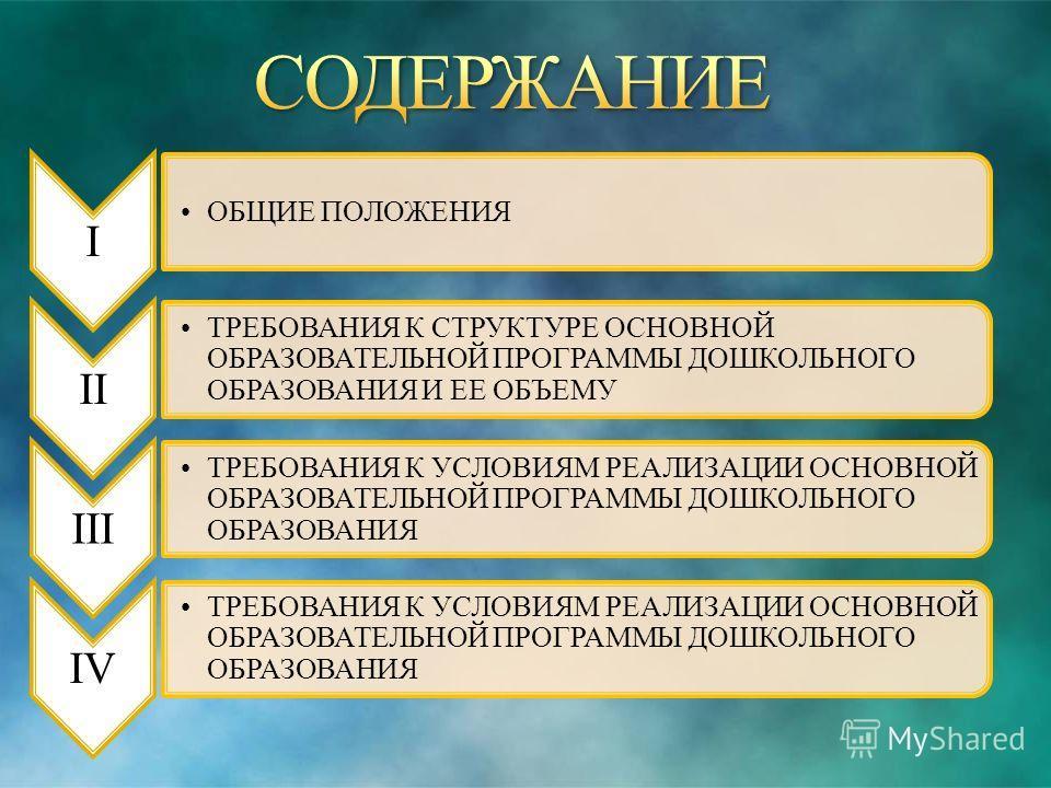 ОБЩИЕ ПОЛОЖЕНИЯ IIIIIIIV ТРЕБОВАНИЯ К СТРУКТУРЕ ОСНОВНОЙ ОБРАЗОВАТЕЛЬНОЙ ПРОГРАММЫ ДОШКОЛЬНОГО ОБРАЗОВАНИЯ И ЕЕ ОБЪЕМУ ТРЕБОВАНИЯ К УСЛОВИЯМ РЕАЛИЗАЦИИ ОСНОВНОЙ ОБРАЗОВАТЕЛЬНОЙ ПРОГРАММЫ ДОШКОЛЬНОГО ОБРАЗОВАНИЯ