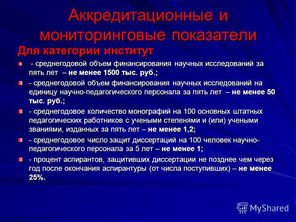 Аккредитационные и мониторинговые показатели Для категории институт - среднегодовой объем финансирования научных исследований за пять лет – не менее 1500 тыс. руб.; - среднегодовой объем финансирования научных исследований за пять лет – не менее 1500