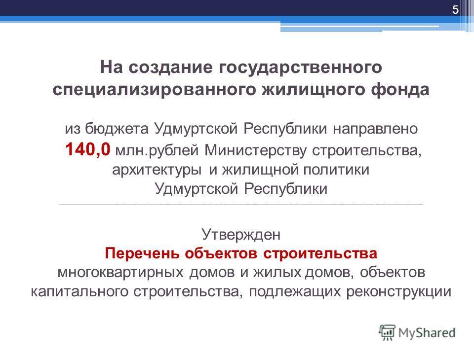 На создание государственного специализированного жилищного фонда из бюджета Удмуртской Республики направлено 140,0 млн.рублей Министерству строительства, архитектуры и жилищной политики Удмуртской Республики __________________________________________