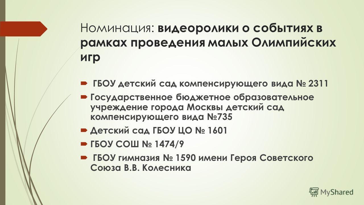 Номинация: видеоролики о событиях в рамках проведения малых Олимпийских игр ГБОУ детский сад компенсирующего вида 2311 Государственное бюджетное образовательное учреждение города Москвы детский сад компенсирующего вида 735 Детский сад ГБОУ ЦО 1601 ГБ