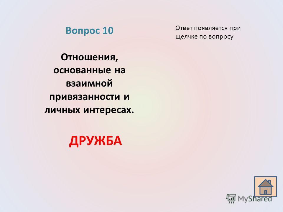 Вопрос 10 Отношения, основанные на взаимной привязанности и личных интересах. ДРУЖБА Ответ появляется при щелчке по вопросу