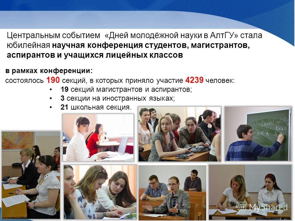 Центральным событием «Дней молодёжной науки в АлтГУ» стала юбилейная научная конференция студентов, магистрантов, аспирантов и учащихся лицейных классов в рамках конференции: состоялось 190 секций, в которых приняло участие 4239 человек: 19 секций ма