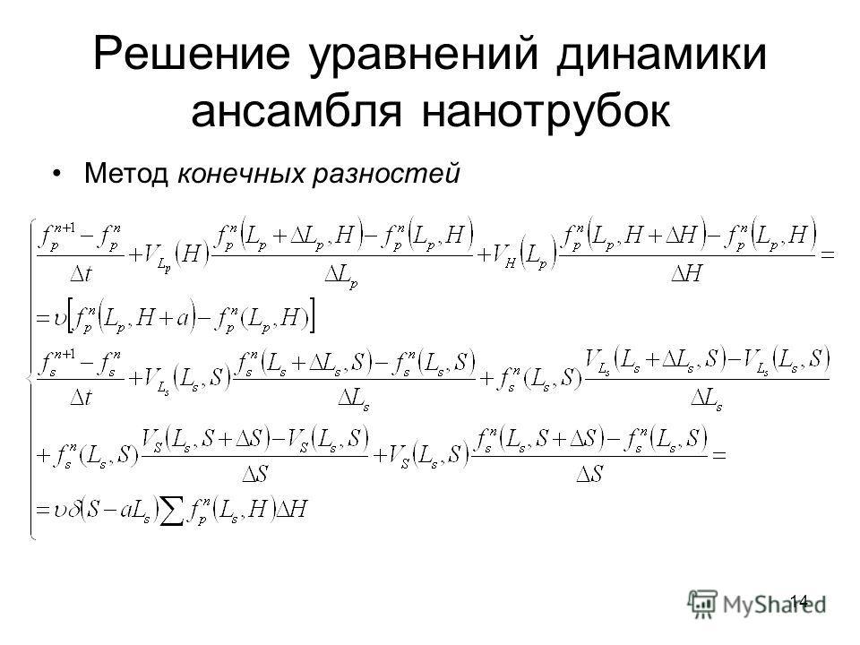 14 Решение уравнений динамики ансамбля нанотрубок Метод конечных разностей