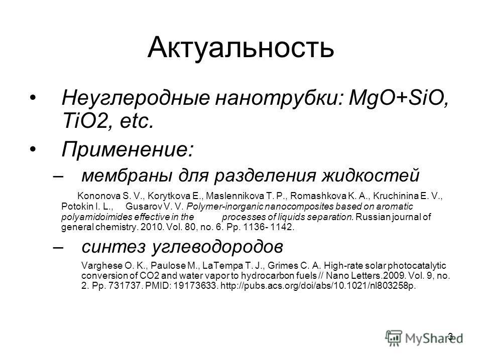 3 Актуальность Неуглеродные нанотрубки: MgO+SiO, TiO2, etc. Применение: –мембраны для разделения жидкостей Kononova S. V., Korytkova E., Maslennikova T. P., Romashkova K. A., Kruchinina E. V., Potokin I. L., Gusarov V. V. Polymer-inorganic nanocompos