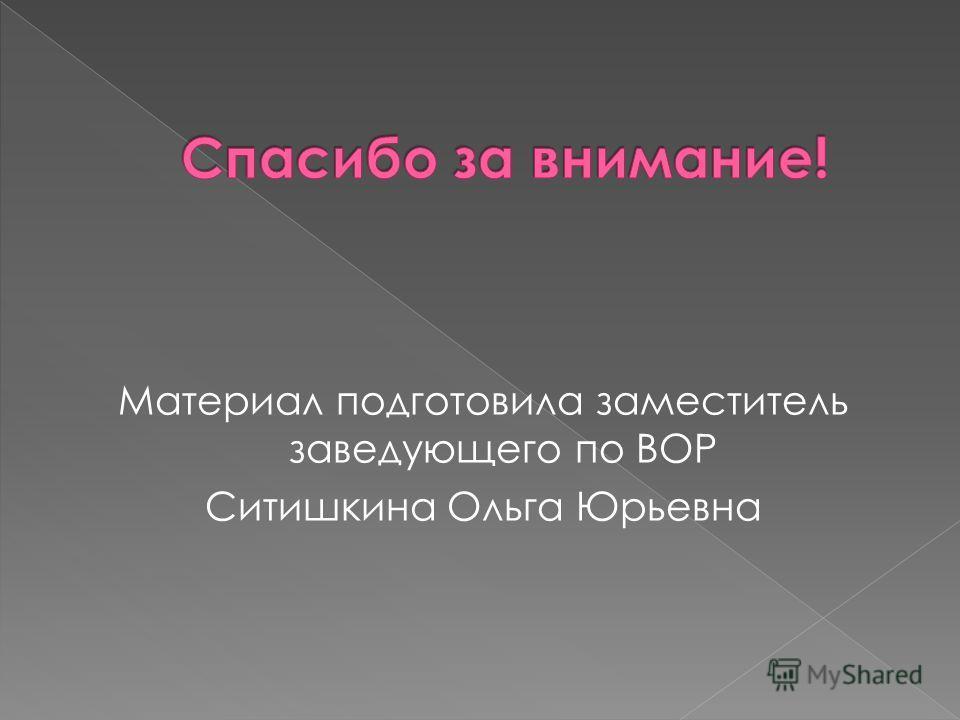 Материал подготовила заместитель заведующего по ВОР Ситишкина Ольга Юрьевна