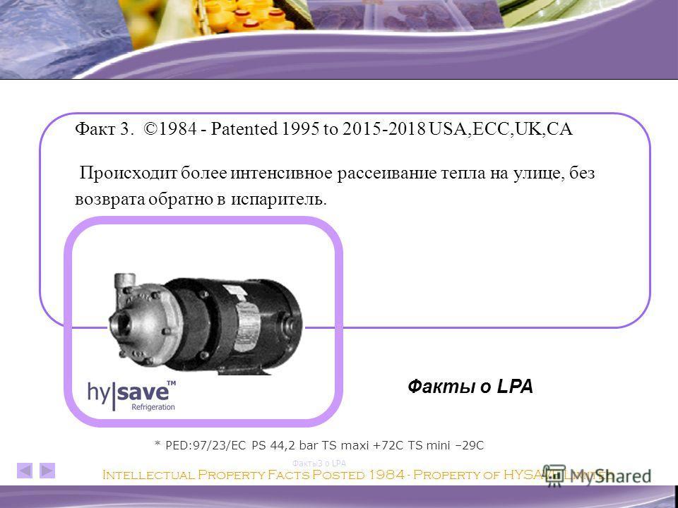 Факты2 о LPA LPA полностью ликвидирует избыточный газ практически при любом давлении или температуре конденсации. Факт 2. ©1984 - Patented 1995 to 2015-2018 USA,ECC,UK,CA Intellectual Property Facts Posted 1984 - Property of HYSAVE Limited * PED:97/2