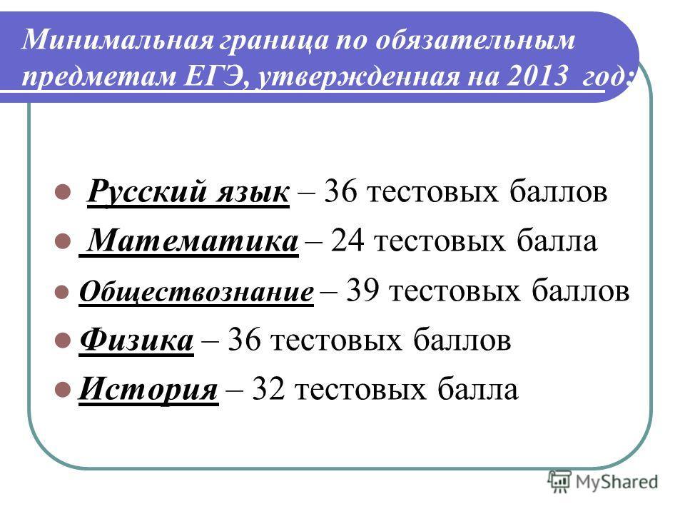 Минимальная граница по обязательным предметам ЕГЭ, утвержденная на 2013 год: Русский язык – 36 тестовых баллов Математика – 24 тестовых балла Обществознание – 39 тестовых баллов Физика – 36 тестовых баллов История – 32 тестовых балла