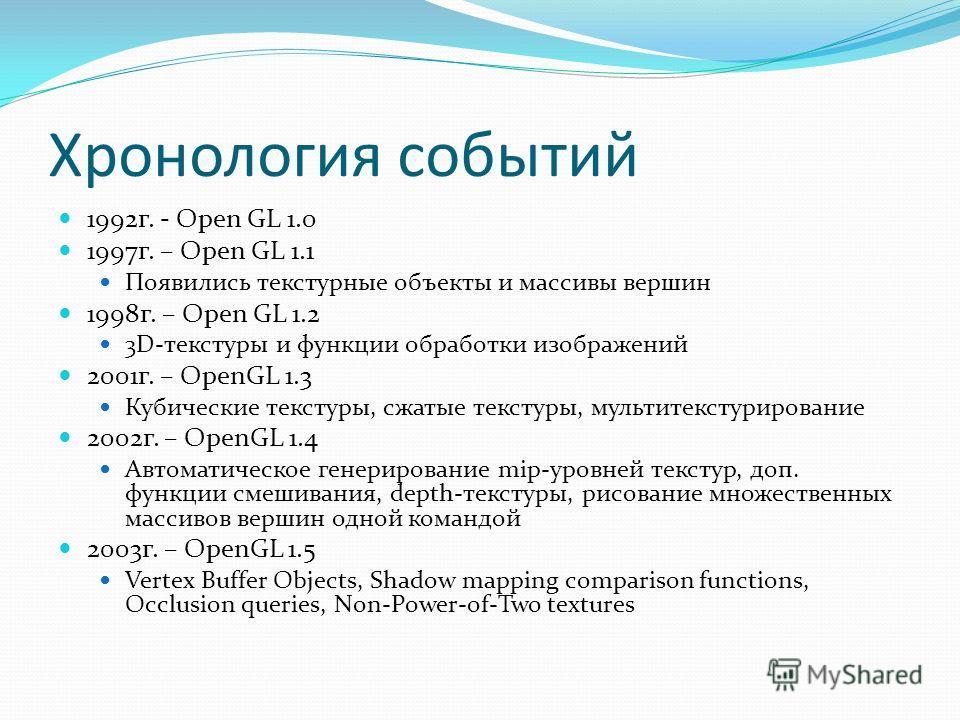 Хронология событий 1992г. - Open GL 1.0 1997г. – Open GL 1.1 Появились текстурные объекты и массивы вершин 1998г. – Open GL 1.2 3D-текстуры и функции обработки изображений 2001г. – OpenGL 1.3 Кубические текстуры, сжатые текстуры, мультитекстурировани