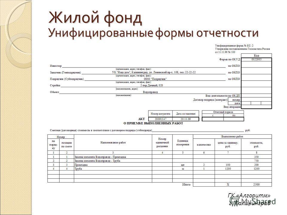 Унифицированные формы отчетности ГК «Алгоритм» г. Калининград Жилой фонд