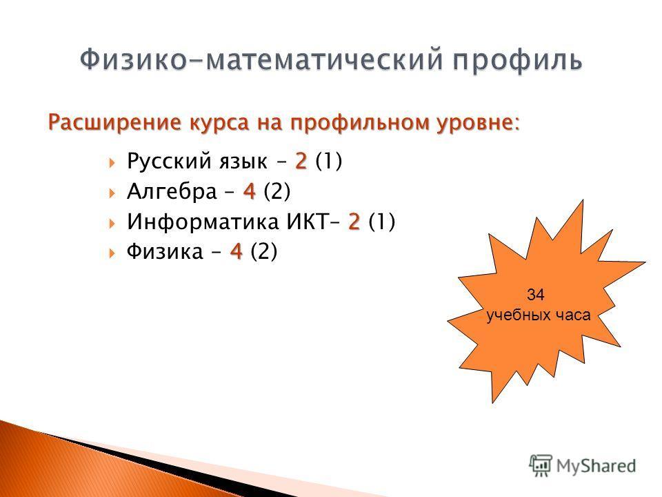 Расширение курса на профильном уровне: 2 Русский язык – 2 (1) 4 Алгебра – 4 (2) 2 Информатика ИКТ– 2 (1) 4 Физика – 4 (2) 34 учебных часа