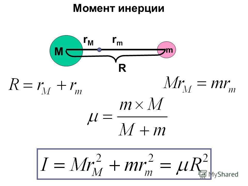 M m rmrm rMrM R Момент инерции