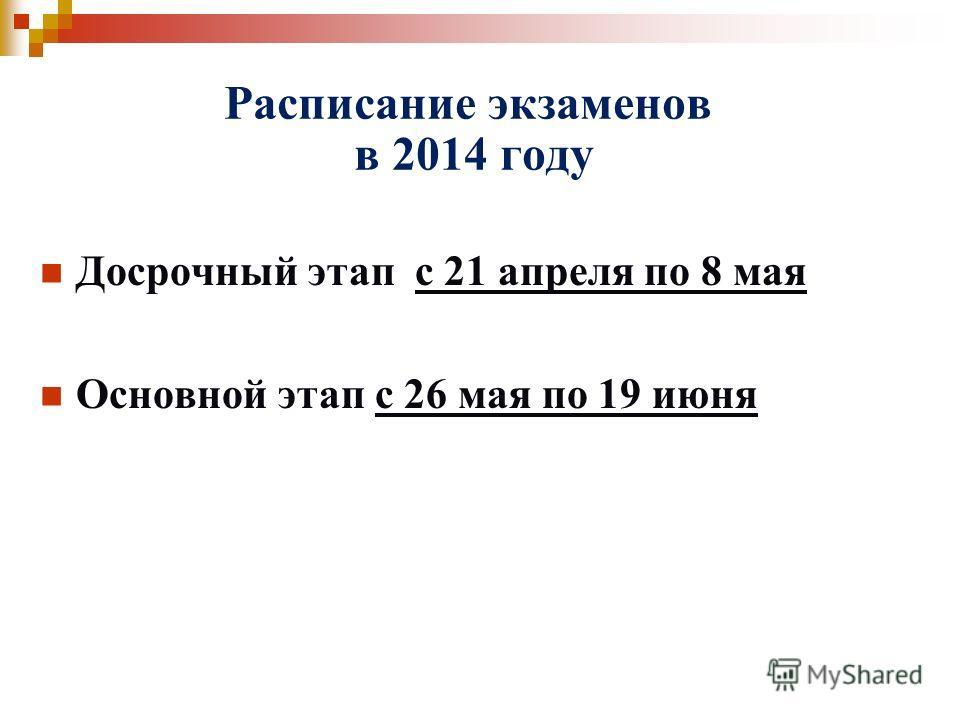 Расписание экзаменов в 2014 году Досрочный этап с 21 апреля по 8 мая Основной этап с 26 мая по 19 июня