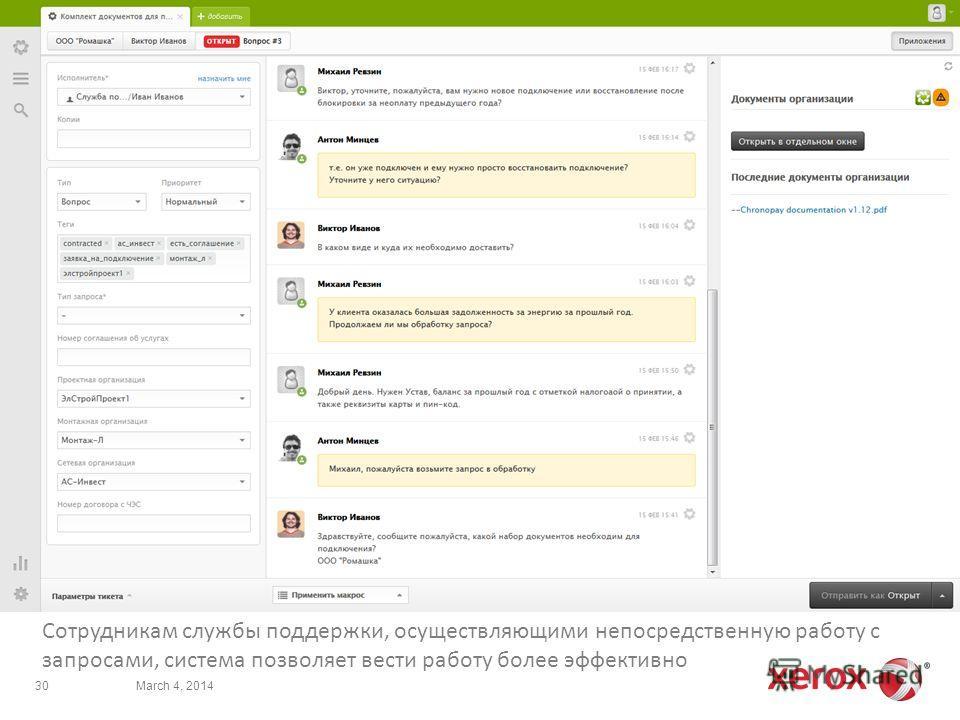 Сотрудникам службы поддержки, осуществляющими непосредственную работу с запросами, система позволяет вести работу более эффективно March 4, 201430