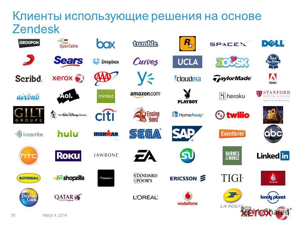 Клиенты использующие решения на основе Zendesk March 4, 201436