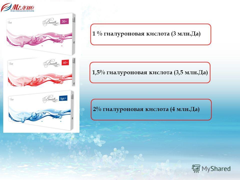 1,5% гиалуроновая кислота (3,5 млн.Да) 1 % гиалуроновая кислота (3 млн.Да) 2% гиалуроновая кислота (4 млн.Да)