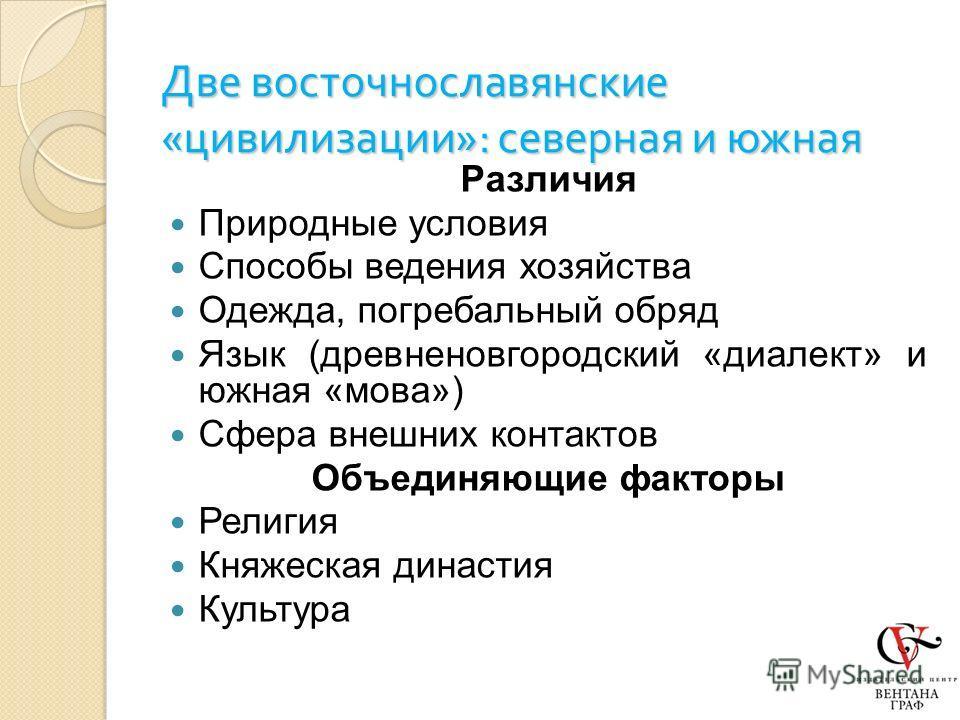 Две восточнославянские « цивилизации »: северная и южная Различия Природные условия Способы ведения хозяйства Одежда, погребальный обряд Язык (древненовгородский «диалект» и южная «мова») Сфера внешних контактов Объединяющие факторы Религия Княжеская