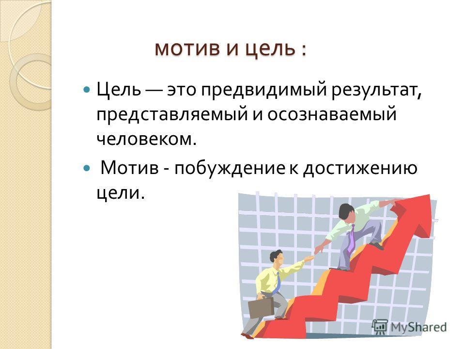 мотив и цель : Цель это предвидимый результат, представляемый и осознаваемый человеком. Мотив - побуждение к достижению цели.