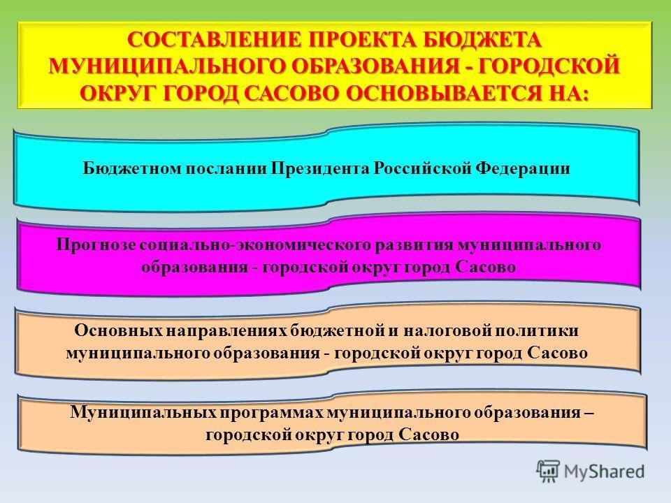 СОСТАВЛЕНИЕ ПРОЕКТА БЮДЖЕТА МУНИЦИПАЛЬНОГО ОБРАЗОВАНИЯ - ГОРОДСКОЙ ОКРУГ ГОРОД САСОВО ОСНОВЫВАЕТСЯ НА: Бюджетном послании Президента Российской Федерации Прогнозе социально-экономического развития муниципального образования - городской округ город Са