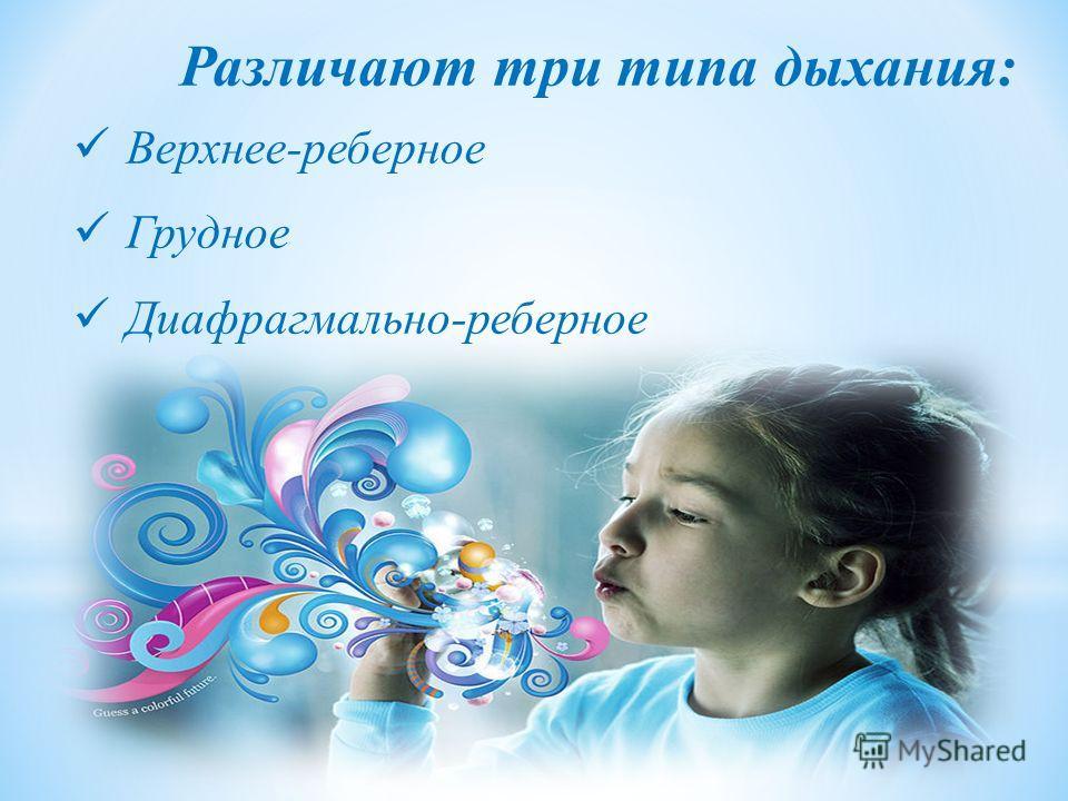 Различают три типа дыхания: Верхнее-реберное Грудное Диафрагмально-реберное