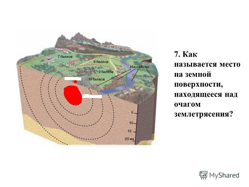 7. Как называется место на земной поверхности, находящееся над очагом землетрясения?